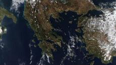 Zima z kosmosu na południu Europy