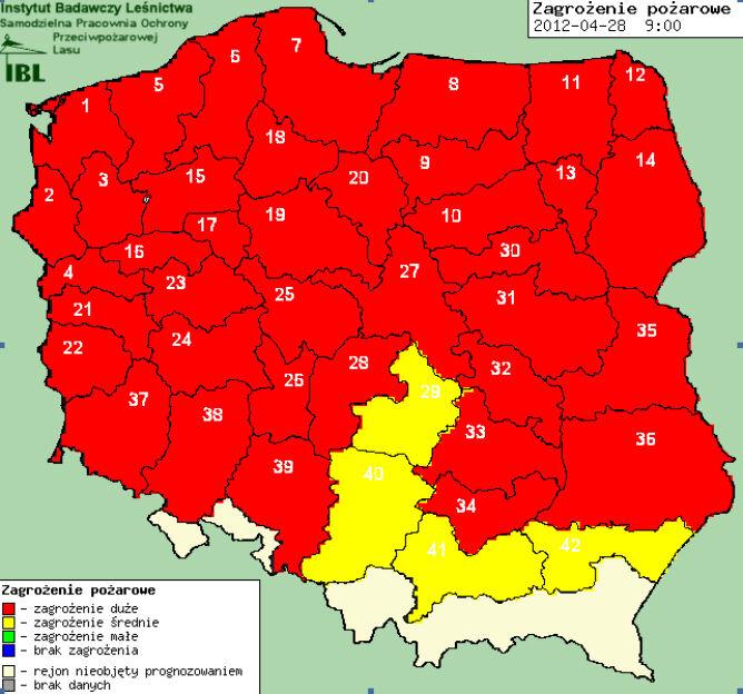 Mapa zagrożenia pożarowego od 28 do 30 kwietnia (Instytut badawczy Leśnictwa)