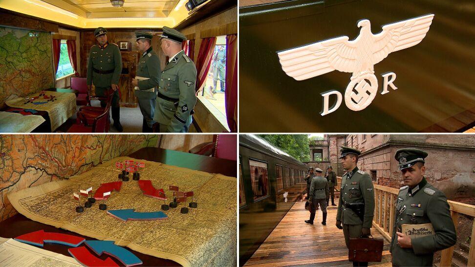 W tym salonie debatowano o zniszczeniu Polski. Zrobili replikę pociągu Hitlera