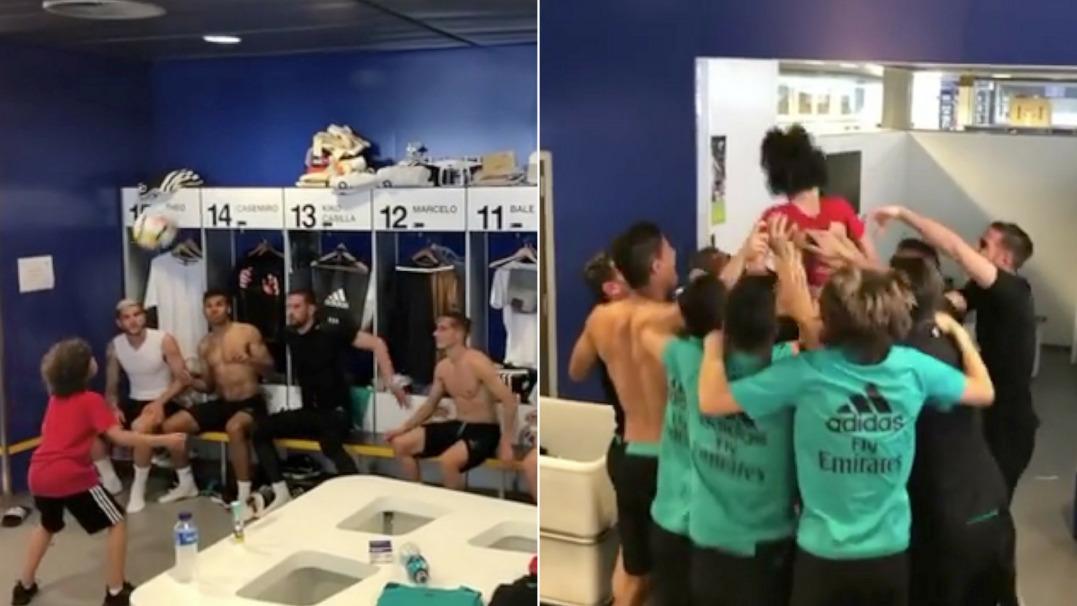 Mistrzowski pokaz syna Marcelo z piłkarzami Realu w szatni