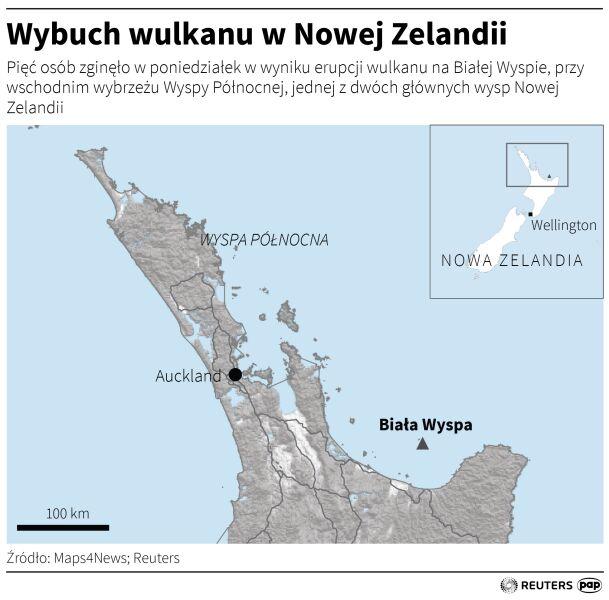 Erupcja wulkanu w Nowej Zelandii (PAP/Adam Ziemienowicz)