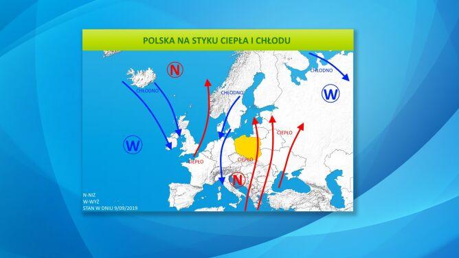 Polska na styku ciepła i chłodu (tvnmeteo.pl)