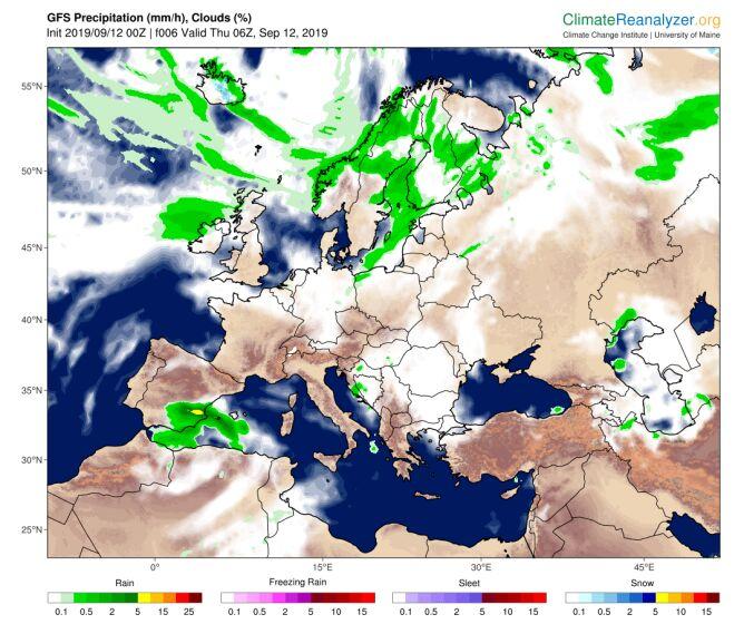 Prognoza zachmurzenia i opadów na czwartek wg modelu GFS (climatereanalyzer.org)
