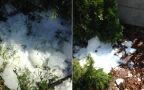 Na jedno z podwórek w Skierniewicach spadła lodowa kula