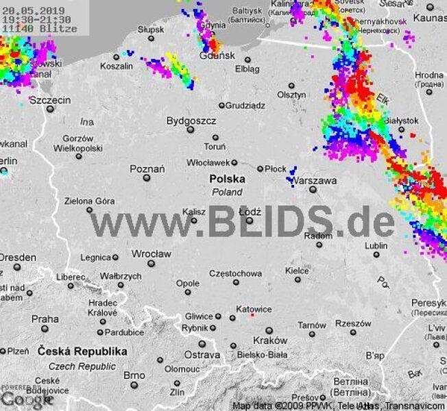 Wyładowania w Polsce w godzinach 19:30 - 21:30